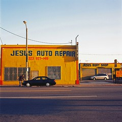 Jesus auto repair and body shop (ADMurr) Tags: auto film la kodak hasselblad 80mm ektar