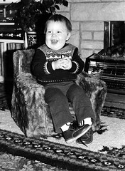 Family Archives 51. Derick (Fred J Carss) Tags: boy people film canon fireside sitting child derick sit scanned a1 seated fp4