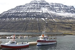 Boats in front of a mountain