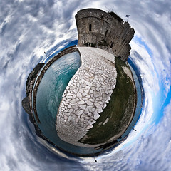 Bourtzi overcast (amfipolos) Tags: panorama castle photoshop 360 panoramic medieval greece nafplion sonycybershot polarcoordinates bourtzi littleplanet polarpanorama stereographicprojection ναύπλιο μπούρτζι pixelbender
