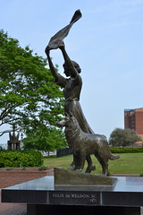 Savannah's Waving Girl statue in Morrell Park. The statue is of Florence Martus (1868-1943) who greeted all ships arriving at Savannah Sculpted by Felix de Weldon in 1971.