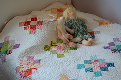 Pick a Plum Granny Square Quilt (bloomingpoppies) Tags: modern quilt rainbowcolors grannysquares twinsize whitesashing