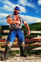 brawny and friendly swiss farmer (Farmerbaer) Tags: rural burly buff rough sturdy gummistiefel muscled robust melker milker hairychested stocky swissfarmer stallmontur schweizerbauer melkerbluse schwingertyp brawnybeardedswisshunk