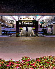 MONORAIL: Magic Kingdom (tltichy) Tags: flowers sky station sign composite night photoshop canon silver stars florida turquoise may entrance ticket center disney 55mm transportation fl monorail wdw waltdisneyworld f11 starry hdr magickingdom 2012 photomatix ef2470f28l 5dmarkii 5d2
