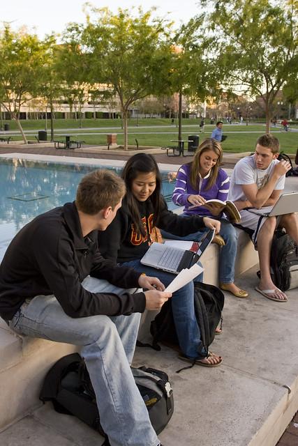 Students outside Leavey