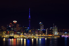 City of Sails (Ashley Daws) Tags: ocean new city sea sky reflection tower water night lights cityscape sails auckland zealand nz scape