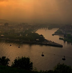 Koblenz  most beautiful corner where Rhein and Mosel river meet (Bn) Tags: world city light sunset mountain castle heritage history monument beautiful car river germany landscape geotagged town site topf50 day ray cloudy top culture cable palace highlights historic unesco upper valley middle viewpoint rhine picturesque topf100 fortress meet emperor dreamscape koblenz eck cabins riverbanks moselle deutsches festung coner ehrenbreitstein 100faves 50faves flickrhivemindgroup geo:lon=7608633 geo:lat=50365517