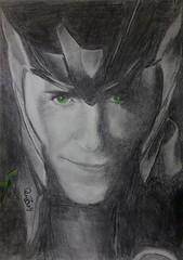 All hail Loki! (JaedinAlways) Tags: portrait man black tom america pencil dark iron drawing age loki thor widow graphite avengers ultron captin hiddleston worlk