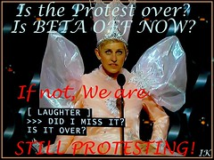 Ellen - Is the Protest Over? (Irene, W. Van. BC) Tags: art protest tvphotos flickrphotos flickrbeta protestposters awardphotos unusualphotos protestphotos allprotests oscarphotos nightoftheoscars ellendegeneresposter