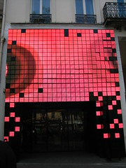 LED faade red (Ladybadtiming) Tags: light red paris graphic squares led movietheater paris13 gobelins fauvette