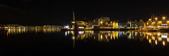 Troms Waterfront at Night (diesmali) Tags: houses winter light sea panorama black water norway night reflections dark harbor boat norge ship harbour troms troms canonef24105mmf4lisusm kingdomofnorway canoneos6d
