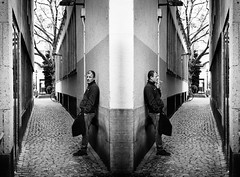 Parallel universes (DOKTOR WAUMIAU) Tags: street travel blackandwhite photoshop 35mm blackwhite nikon arty streetphotography cologne merge lightroom blackandwhitephotography ishootraw d7200 vscofilm