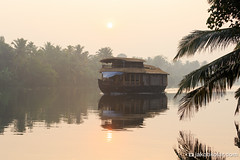 Floating Colonialism (Jakob Kolar) Tags: travel india reflection nature sunrise river landscape asia outdoor houseboat kerala indien backwaters southindia scenicview