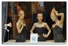 wow !! three wonderful girls !!! (miriam ulivi) Tags: reflections mannequins shopwindow honfleur vetrina riflessi francia normandia manichini panasonicdmctz60 miriamulivi