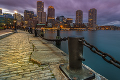 Boston lights and chains (Juan C Ruiz) Tags: sea water boston skyline lights harbor long exposure massachusetts chain harborwalk