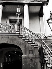 Wrought Iron Staircase Gaslight Classical Architecture Charleston SC Black And White at Charleston, SC (gbhartphoto1) Tags: blackandwhite wroughtiron staircase charlestonsc gaslight classicalarchitecture