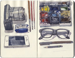 Equipment page (Wil Freeborn) Tags: moleskine sony journal watercolour nex 5n
