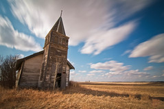 Brush hill church. (Fistfulofpowder) Tags: door wood longexposure sky canada abandoned grass clouds rural lost countryside boards nikon highway edmonton slow decay tripod country trail filter forgotten alberta shutter boardedup daytime decayed stationary density shutterspeed neutral yellowhead vegreville neutraldensity skyporn clouporn nd110 rangeroad d300s