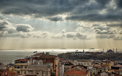 A morning (maistora) Tags: city trees houses light sea sky urban panorama sun sunlight seascape color colour detail reflection rooftop clouds buildings reflections turkey skyscape landscape islands colorful day ship cityscape dynamic zoom cloudy quality sony istanbul palace mosque panoramic kit rays colourful 1855 taksim beyoglu bosphorus dro seaview marmaris marmara lightroom nex cihangir maistora nex5 yahoo:yourpictures=weather