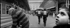 Cops and Robbers (*monz*) Tags: street blackandwhite bw panorama streets film birmingham cops kodak iso400 stripes trix helmet steps police 150 gloves widelux swinglens rodinal f28 brum 20c robbers f7 26mm panramic monz explored panon 13m autaut