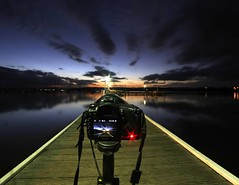 I saw what he saw (pominoz) Tags: camera sunset lake reflection canon pier jetty valentine wharf nsw 7d lakemacquarie