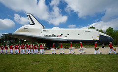 Shuttle Discovery Arrives at Udvar-Hazy (201204190015HQ) (NASA HQ PHOTO) Tags: usa virginia nasa va enterprise spaceshuttle chantilly stevenfudvarhazycenter carlacioffi marinecorpdrumandbuglecorpsandcolorguard