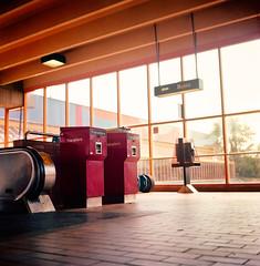 Lawrence West Station Interior, i (Lick My Lens Cap) Tags: toronto ontario canada 6x6 tlr film rollei rolleiflex mediumformat square kodak interior ttc ishootfilm indoors squareformat transit dufferin subwaystation kodakportra160vc northyork 120mm twinlensreflex kodakfilm torontotransitcommission tessar rolleiflexmxevs 160iso lawrencewest