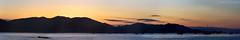 San Luis Obispo Bay Sunrise Panorama (Jeff Kreulen) Tags: ocean california sea sky panorama cloud mountain water sailboat sunrise coast pier boat pacific coastline backlit pismobeach avilabeach colorphotoaward sanluisobispobay