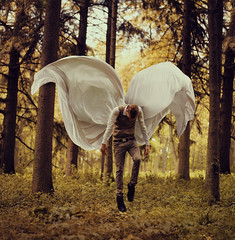 Fragile Wings (Kyle.Thompson) Tags: boy portrait orange brown white guy green angel forest self fly flying wings floating falling 365 cloth fragile