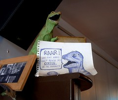 RAAR!! (Georgie_grrl) Tags: toronto ontario cafe funny dinosaur drawing awesome smiles happiness humour positive coffeehouse greektown tyrannosaurusrex ohthehumanity broadviewavenue dangit littlearms itsthelittlethings mydarkpinkside samsungd760 broadviewespresso new365project hangingoutwithgeoff gladididnthavetoworryaboutthis ihadayummylatte