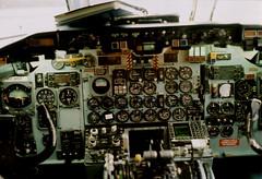 DC-9-51 Cockpit (veloerik) Tags: old film analog 35mm airplane midwest pentax k1000 michigan aircraft jet lofi cockpit delta airline analogue instruments ord complex nwa gauges dtw northwestairlines intricate rustbelt dc9 mcdonnelldouglas dc950 dc951