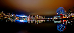 View from Village on False Creek (どこでもいっしょ) Tags: city canada building colors vancouver reflections lights downtown bc nightshot sony led fisheye falsecreek olympicvillage scienceworld bcplace primelens sonyvclecf1 thevillageonfalsecreek sonynex5n sonyemountsel16f28 16mmf28wideanglealphaemountlens emountfisheyeconversionlens
