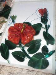 WIP 5/14/2012 Fire and Rain (MosaicSmith (Linda)) Tags: flowers red mosaic wip hibiscus mosaicsmith
