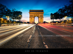 Arc de Triomphe, Paris (Beboy_photographies) Tags: blue sunset paris pose de soleil place champs arc triomphe coucher voiture hour avenue arcdetriomphe hdr lyses toile fil champslyses longue placedeltoile