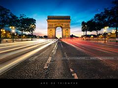 Arc de Triomphe, Paris (Beboy_photographies) Tags: blue sunset paris pose de soleil place champs arc triomphe coucher voiture hour avenue arcdetriomphe hdr lyses toile fil champslyses longue placedeltoile