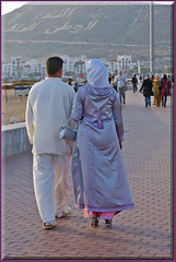 Agadirian chic (mhobl) Tags: man beach women walk sunday agadir morocco promenade mode stroll balade