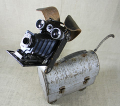 SCRUFFY - robot dog assemblage sculpture - Reclaim2Fame (Reclaim2Fame) Tags: camera sculpture dog metal vintage puppy tin robot recycled mixedmedia vintagecamera doggy foundobject robotdog dogsculpture antiquecamera recycledmaterial robotsculpture vintageobjects