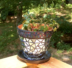 Mirrored Mosaic Flower Pot (beaded glass) Tags: mirror mosaic retro flowerpot