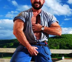 stocky swiss milker (Marsum) Tags: rural burly buff bearded sturdy muscled robust melker milker stocky swissfarmer stallmontur schweizerbauer stablegear melkerbluse brawnyhairychestedfarmer