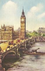 Westminster Bridge (Leonard Bentley) Tags: uk bus london 1948 tram bigben pedestrians watercolour tug stpaulscathedral riverthames metropolitan fleetstreet westminsterbridge queenelizabeth victoriaembankment palaceofwestminster silverwedding bridgestreet westminsterpier kinggeorgevi canonrow cannonrow articulatedfunnel