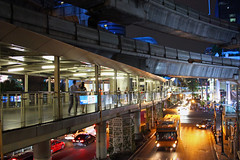 Bangkok (Cronenberg1978) Tags: street city light bus car night thailand person highway footbridge bangkok transportation thai pedestrain