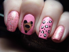 Leopard Love (Life in Lacquer) Tags: pink art glitter print day heart nail polish m nails leopard barry nailart varnish lacquer notd kleancolor lifeinlacquer