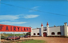 Fairyland, New Haven PEI (SwellMap) Tags: road signs monument public sign vintage advertising design 60s highway gate arch fifties message postcard suburbia entrance style kitsch retro billboard route nostalgia chrome freeway gateway billboards americana 50s lettering welcome roadside populuxe sixties babyboomer consumer coldwar midcentury spaceage atomicage archwaypc