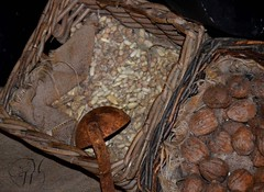 Beans & Walnuts (Mike Woodfin) Tags: stilllife canon photography photo beans nikon rust fuji basket walnuts picture photograph oxidation burlap latel mikewoodfin