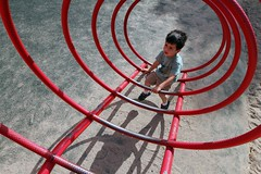Tunnel Vision VII (Conor F. Shine) Tags: red public childhood playground