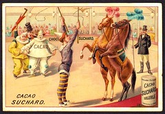 French Tradecard - Circus Acts #12 (cigcardpix) Tags: vintage advertising circus chocolate ephemera clowns chromo tradecards