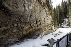Path along Johnston Creek, Johnston Canyon, Banff, Alberta (Jim 03) Tags: blue lake snow mountains ice wall creek river melting path turquoise jim canyon louise covered alberta bow banff icicles johnston jimhoffman jhoffman jim03 wwwflickrcomphotosjhoffman2013 wwwjimahoffmancom