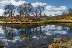Stop and Reflect (scottprice16) Tags: uk blue trees england sky cloud snow mountains reflection water march spring lakedistrict calm cumbria elterwater 18135mm fujixt1
