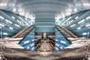 Going Under (Esther Seijmonsbergen) Tags: blue distortion architecture germany subway deutschland metro interior hamburg fisheye ubahn subwaystation publictransport hdr duitsland openbaarvervoer citytrip 5xp überseequartier estherseijmonsbergen ueberseequartier