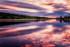 Evening dream (Usstan) Tags: pink sunset sky sun lake water colors norway clouds lens landscape evening norge spring nikon seasons outdoor no sigma calm d750 serene akershus locations 2470mm enebakk otherwordly ytreenebakk